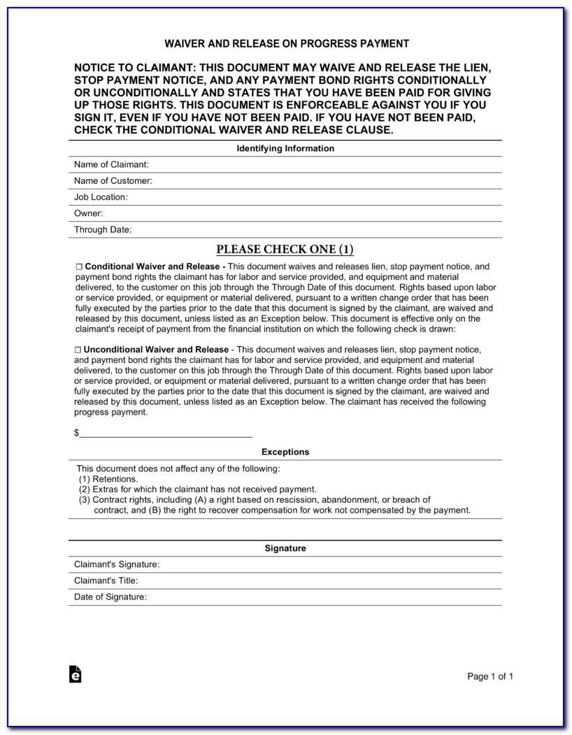Texas Subcontractor Lien Waiver Form