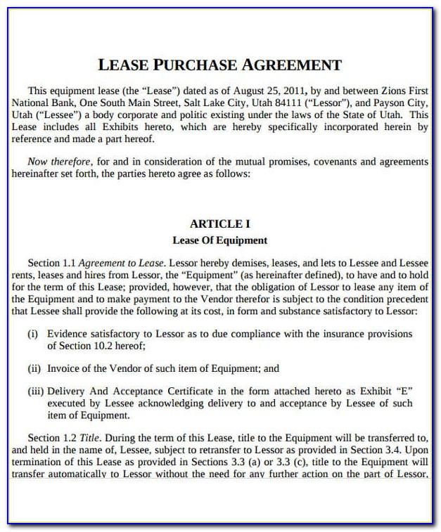 Vehicle Lease To Own Agreement Template