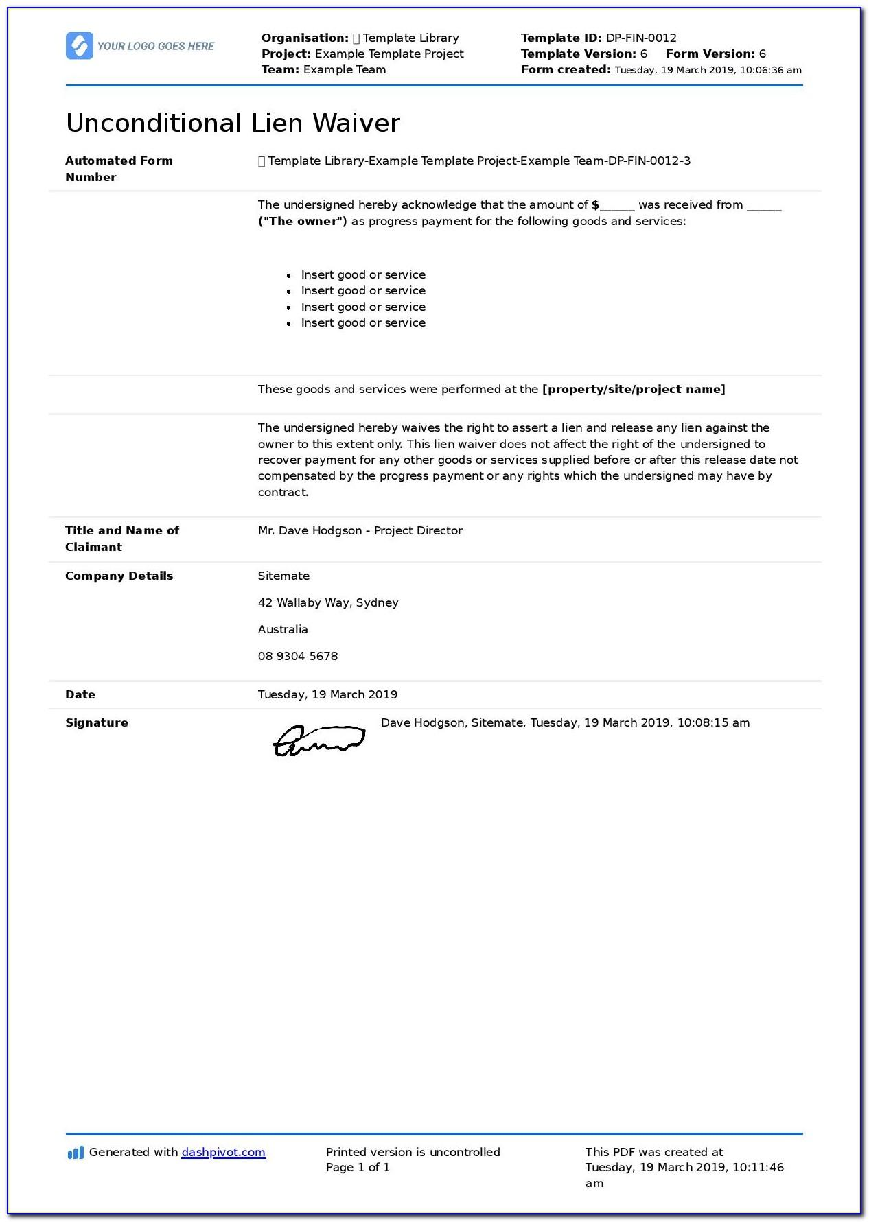 Vehicle Lien Release Letter Template