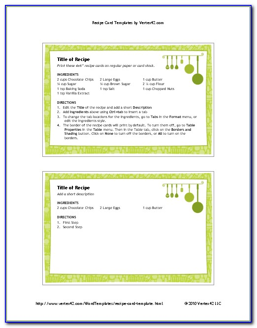 4x6 Folded Card Template Word