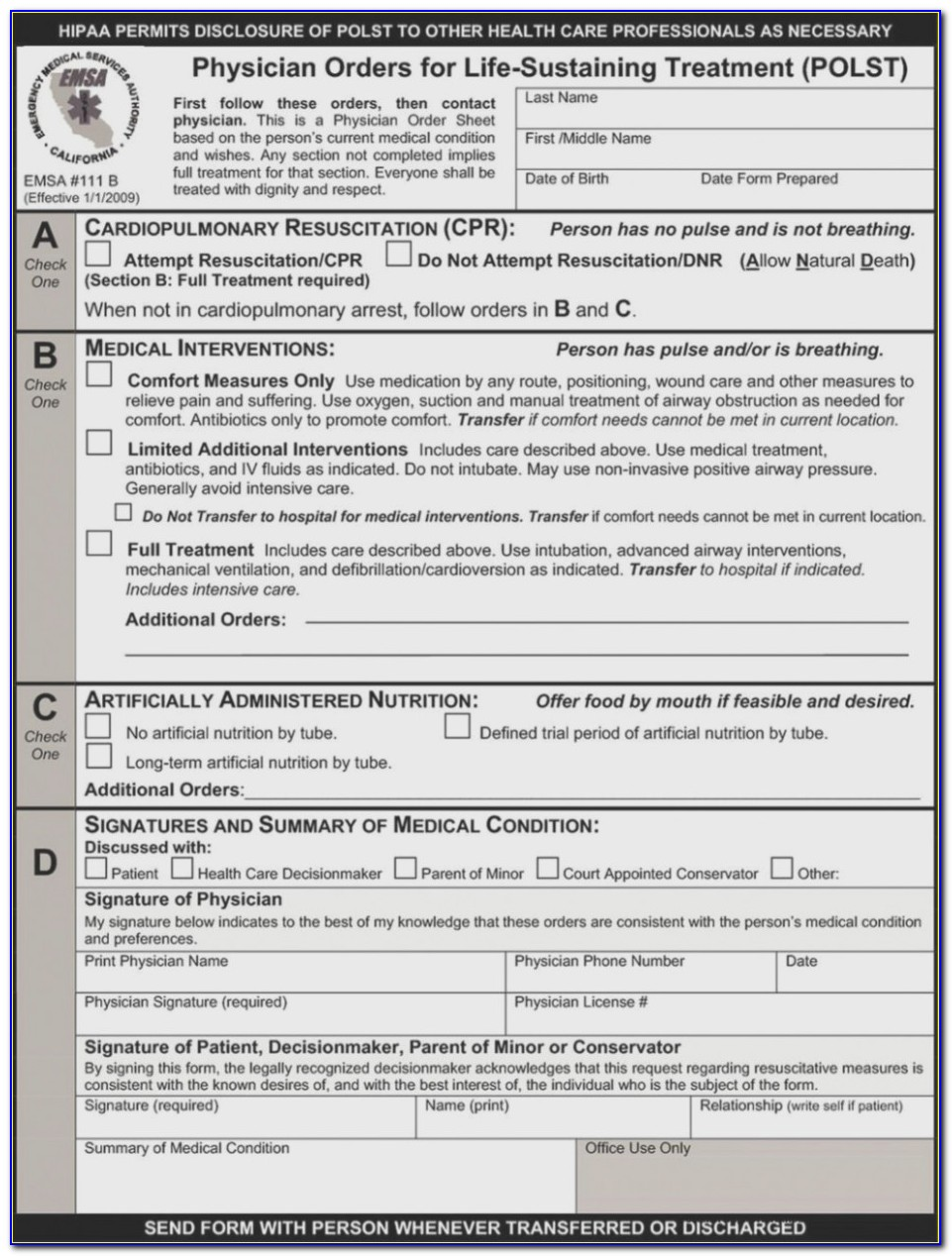 Advance Health Care Directive Form California 2019
