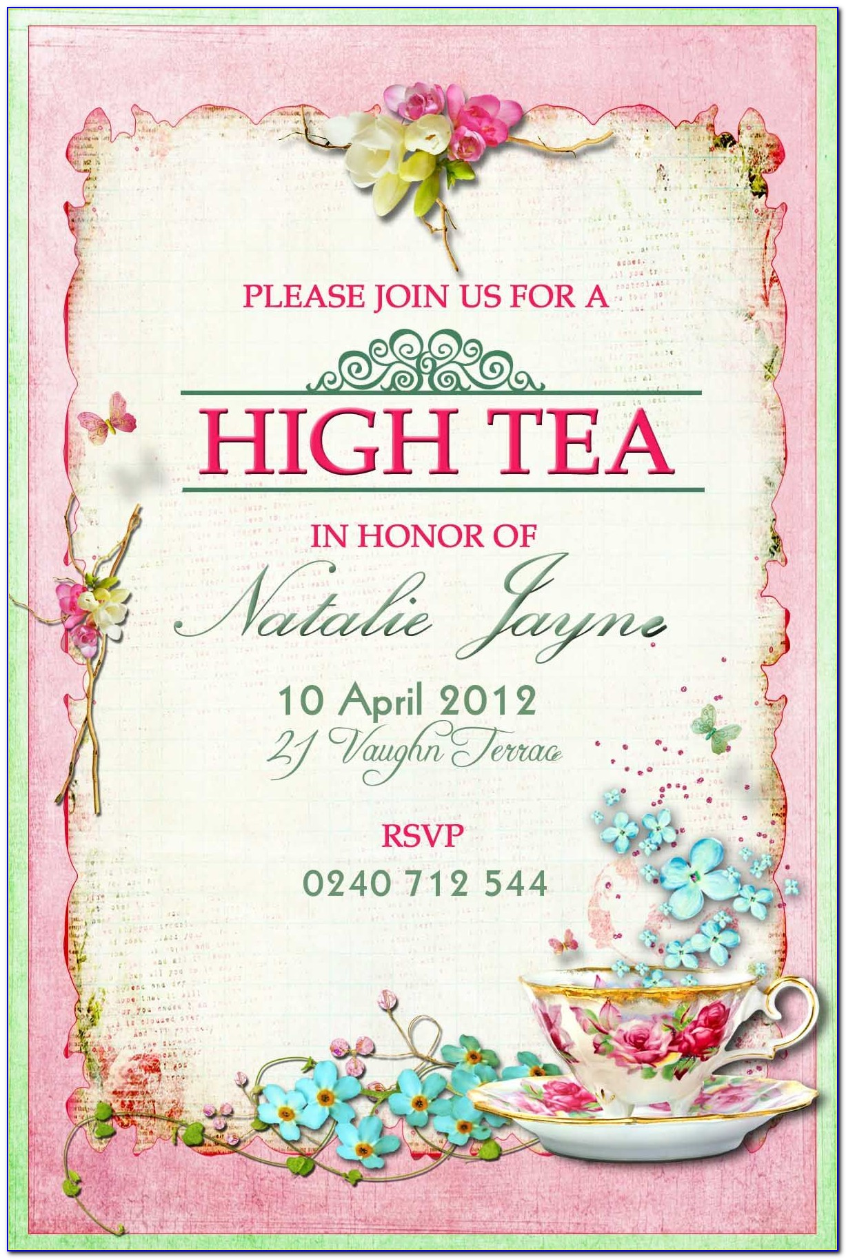 Afternoon Tea Invite Template
