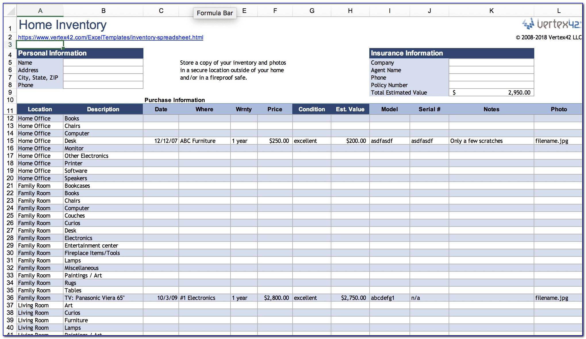 Application Inventory Excel Template