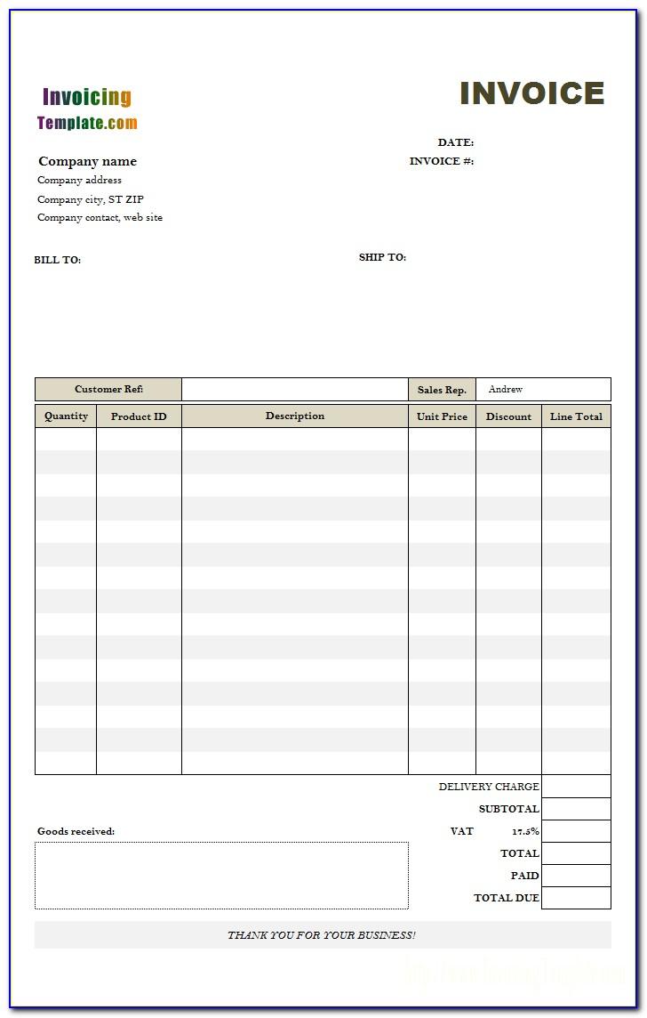 Australian Invoice Template Word