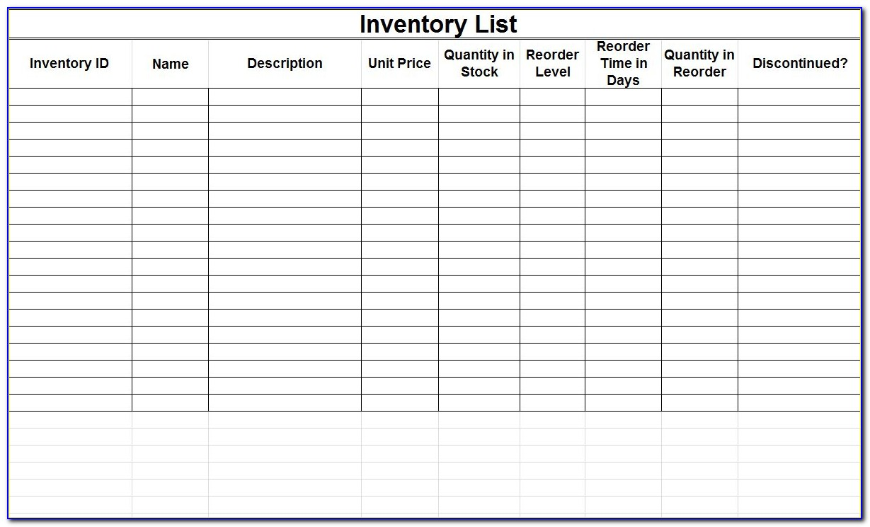 Bar Inventory Spreadsheet Template Free