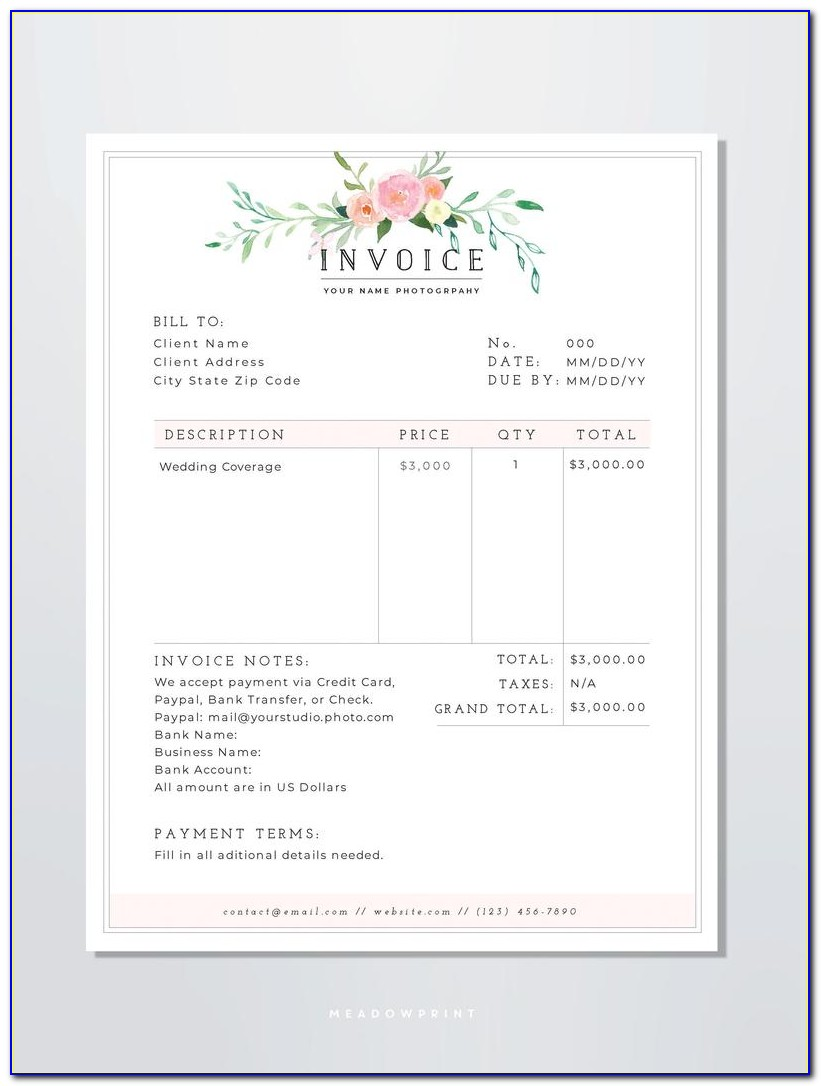 Blank Invoice Template For Wordpad