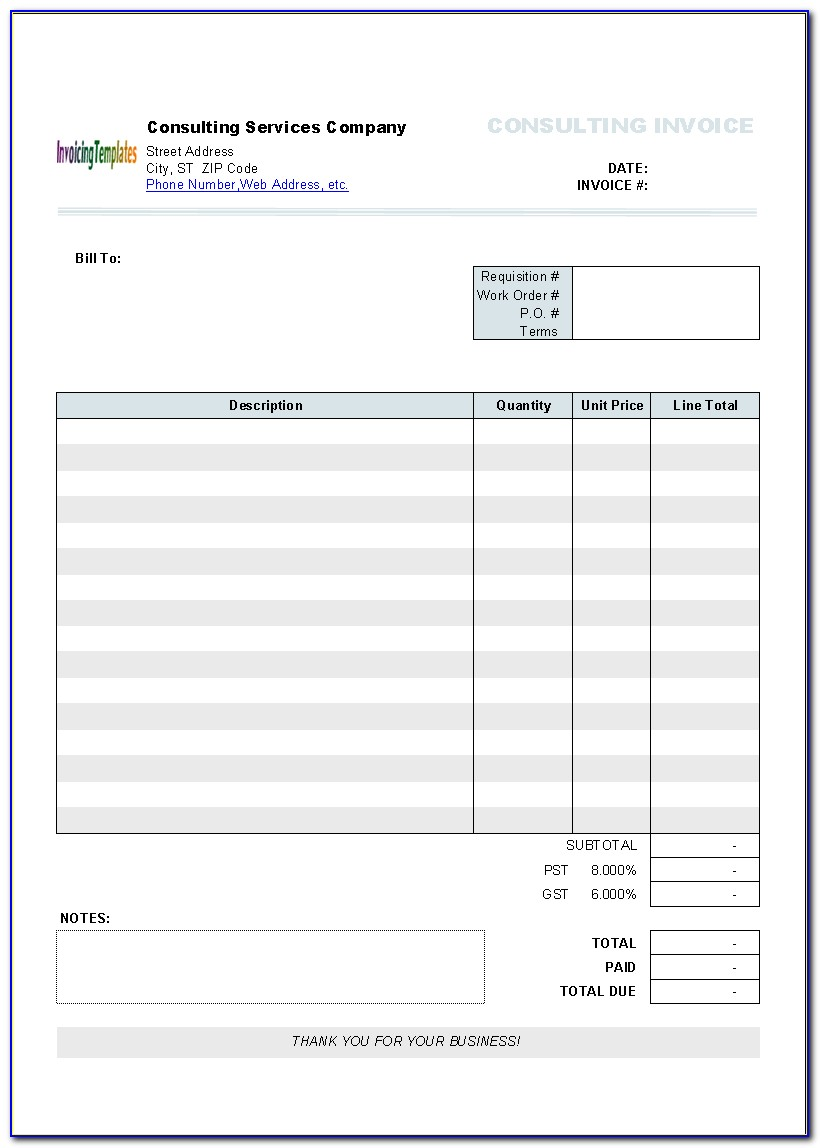 Blank Invoice Template Pages Mac