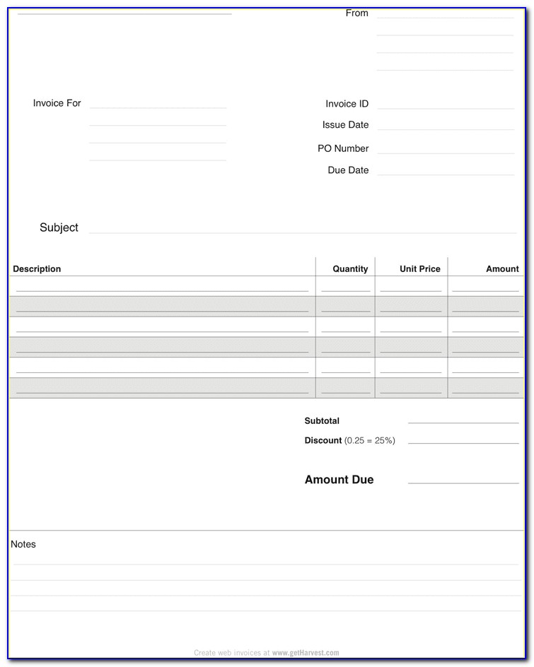 Blank Invoice Template Word Free Download