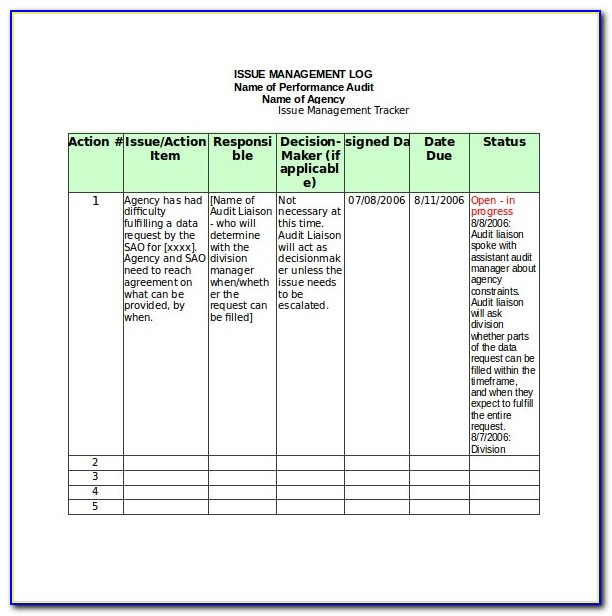 Bug Tracking Excel Template Free Download