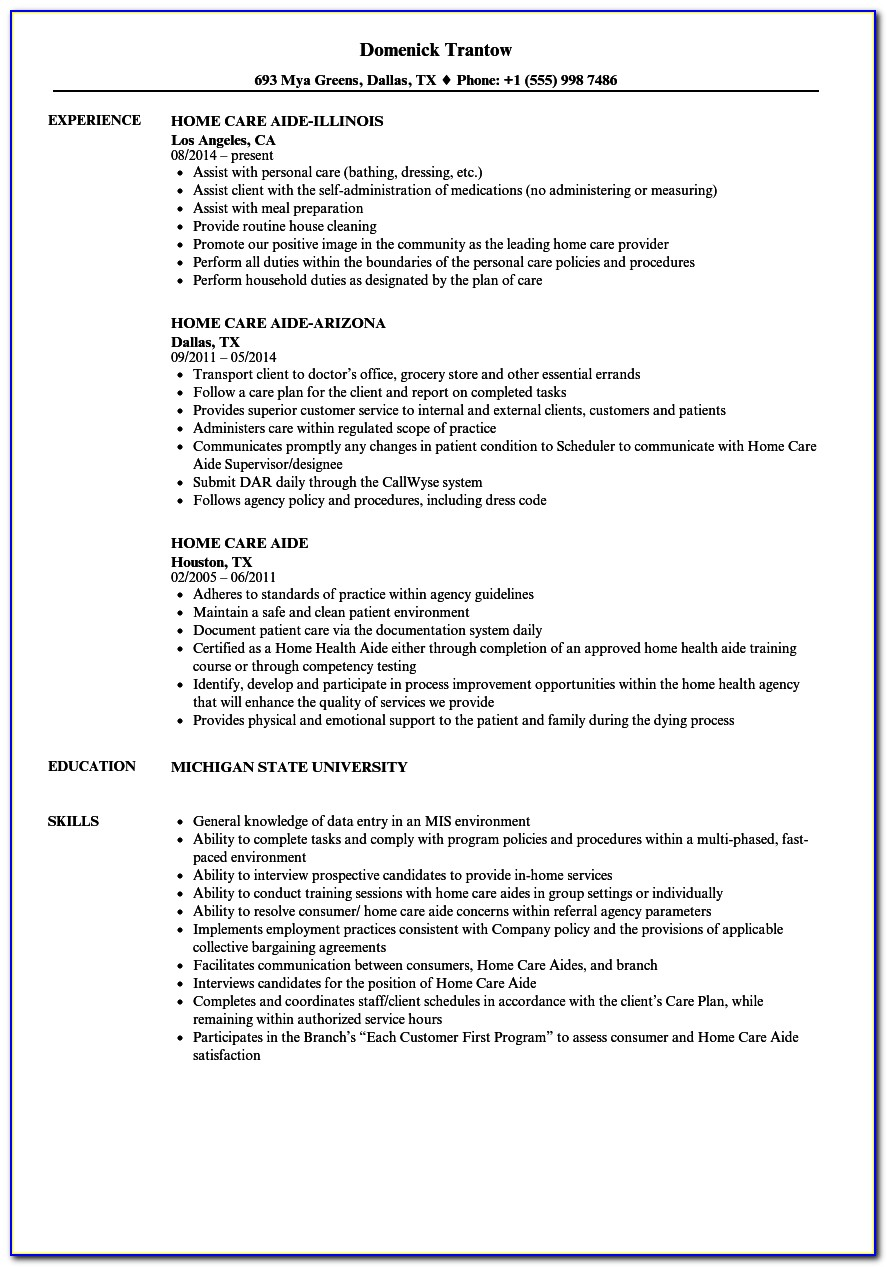 Certified Home Health Aide Resume Sample