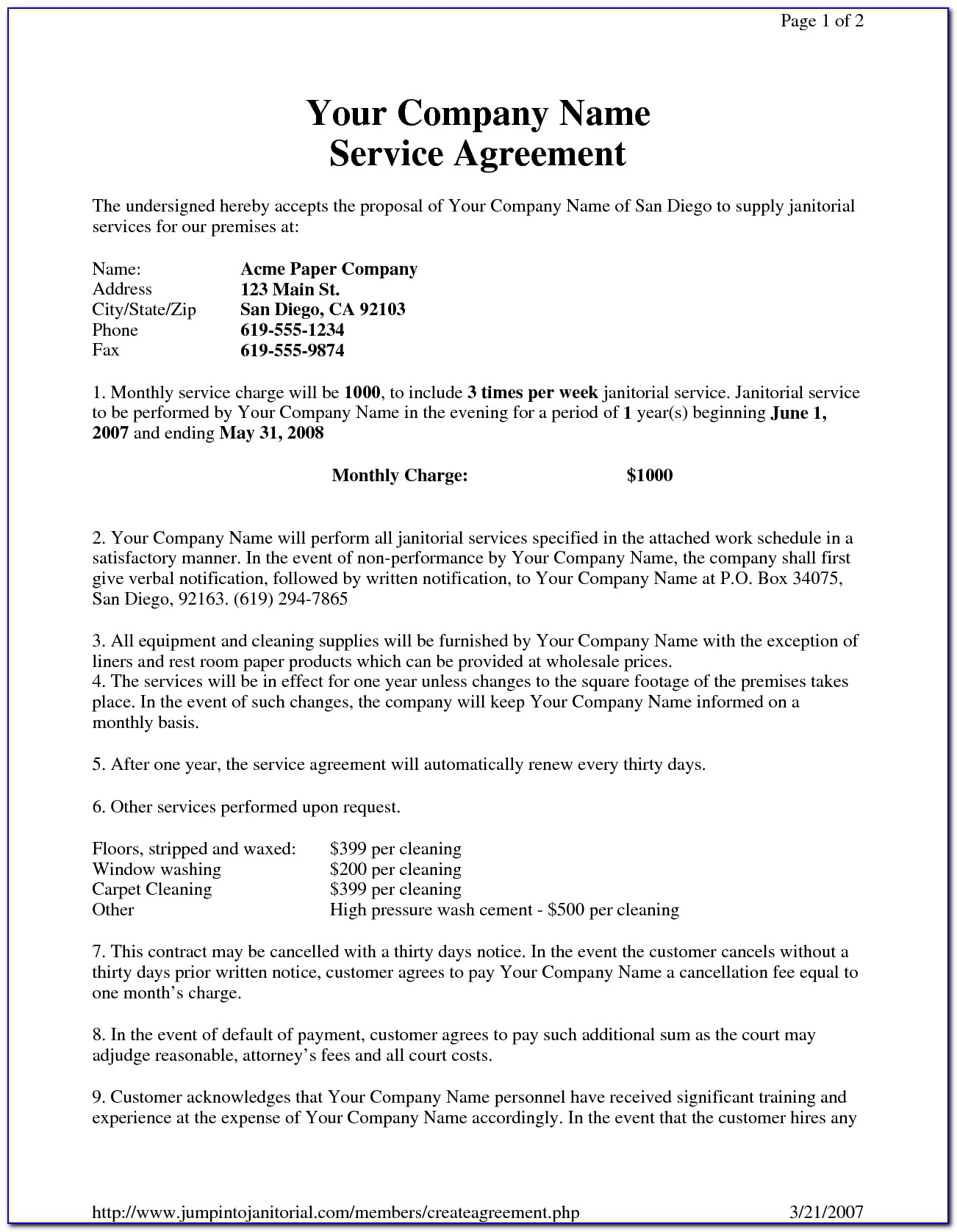 Commercial Cleaning Contract Template Nz