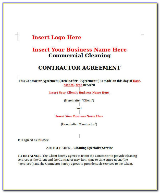 Commercial Cleaning Contract Template Pdf