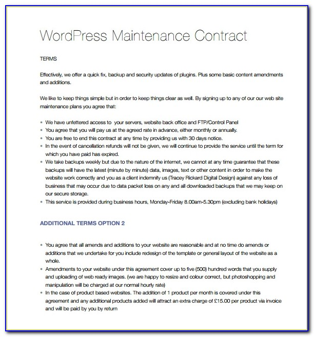 Commercial Hvac Service Agreement Template