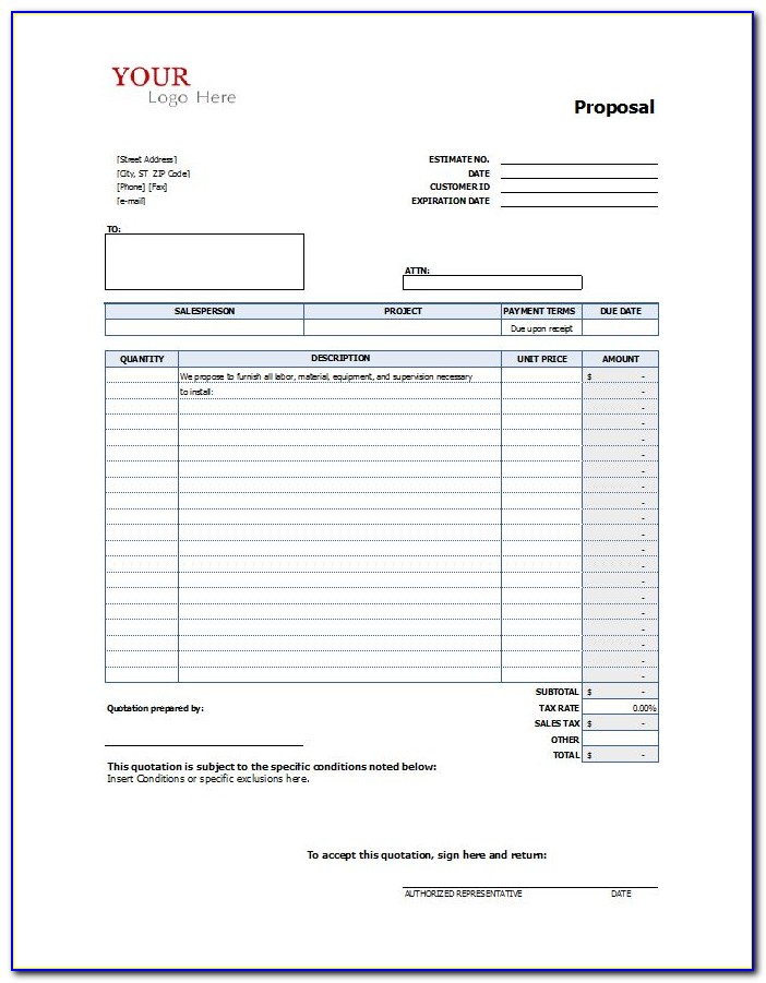 Construction Job Bid Template Free