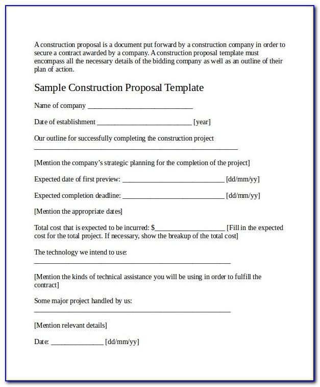 Construction Job Proposal Example