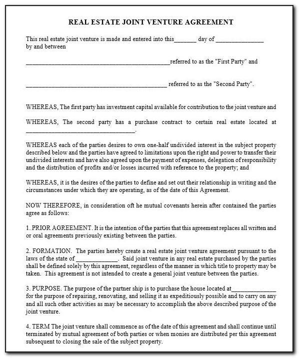 Contractual Joint Venture Agreement Template Uk