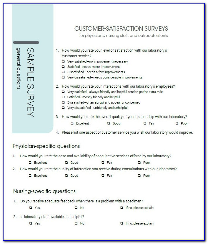 Customer Satisfaction Survey Questionnaire For Banks