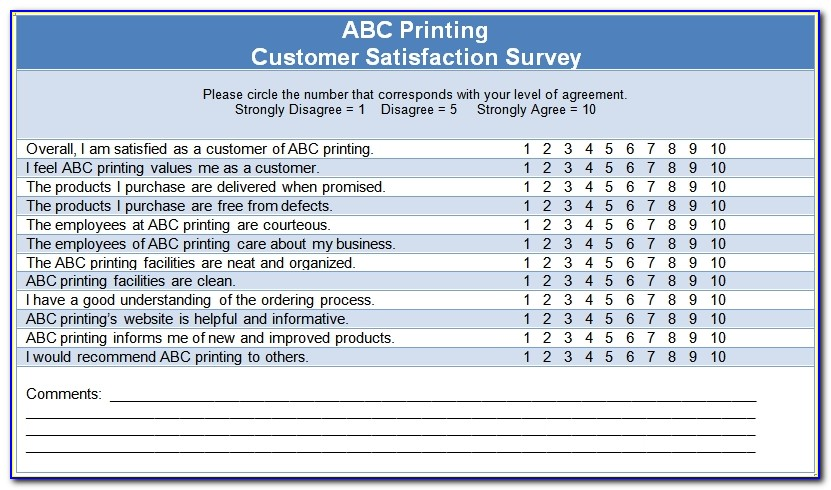 Customer Satisfaction Survey Questionnaire Template