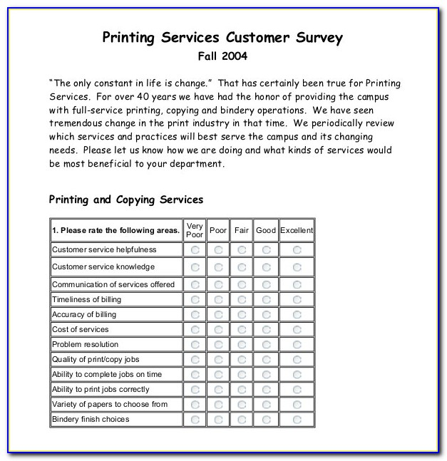 Customer Service Survey Template Free