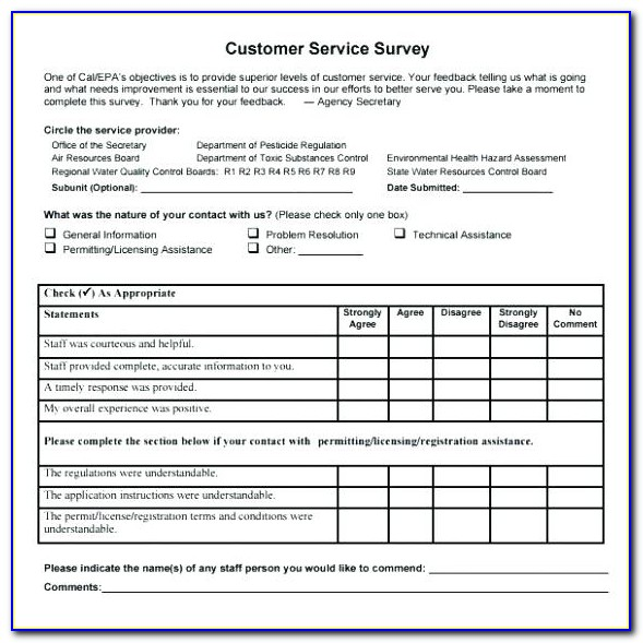 Customer Service Survey Template Pdf