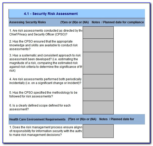 Cyber Security Risk Analysis Template