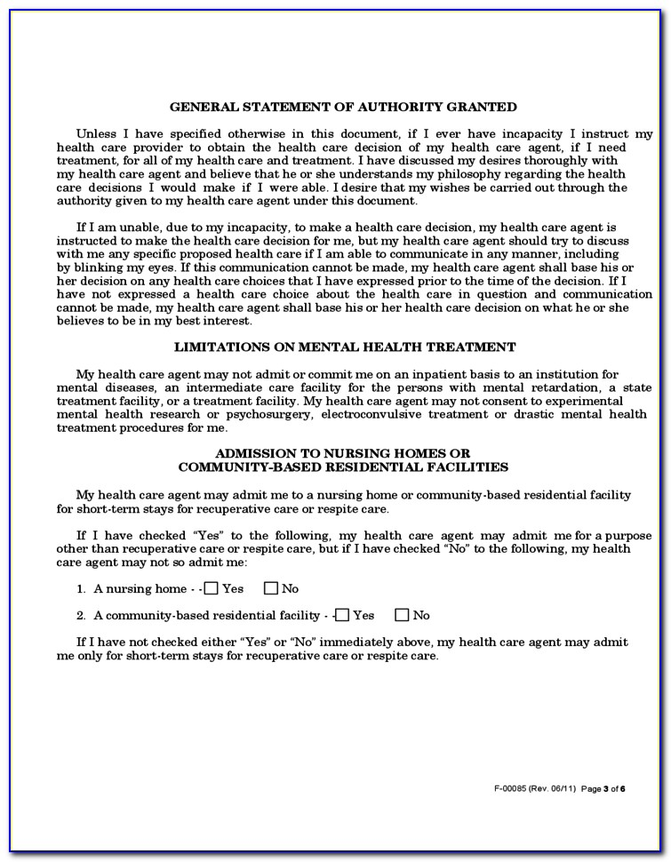 Durable Power Of Attorney For Health Care Form Wisconsin