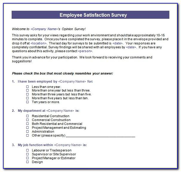 Employee Job Satisfaction Questionnaire Sample