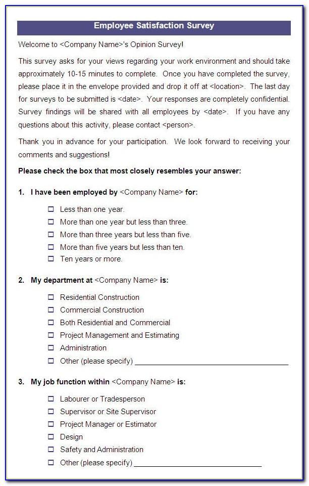 Employee Job Satisfaction Questionnaire Template