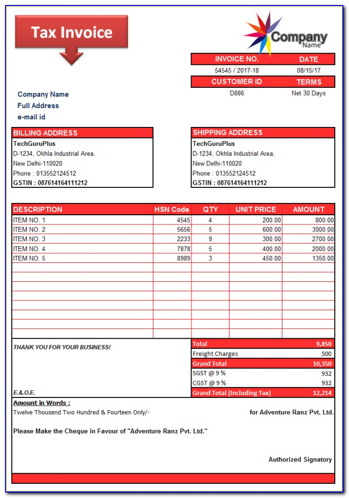Example Invoice Uk Word