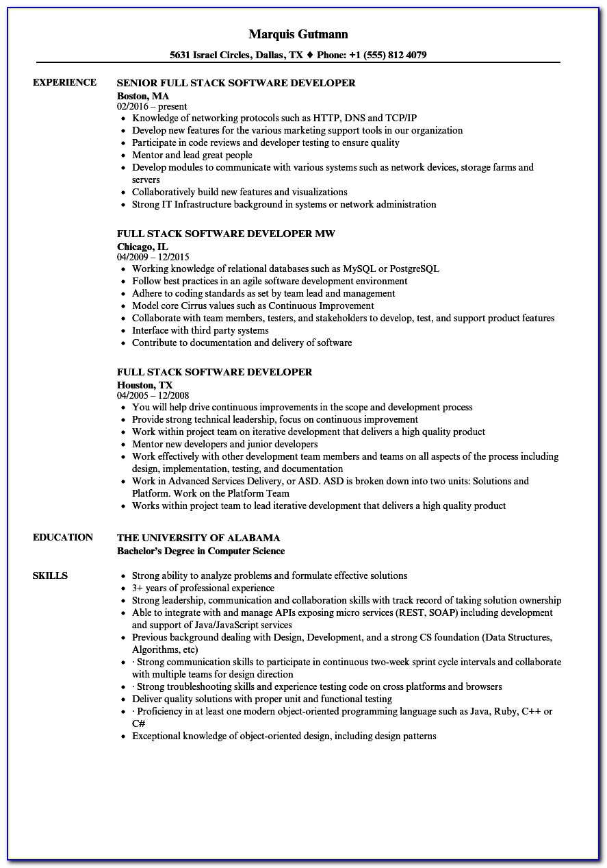 Experienced Java Developer Resume Format
