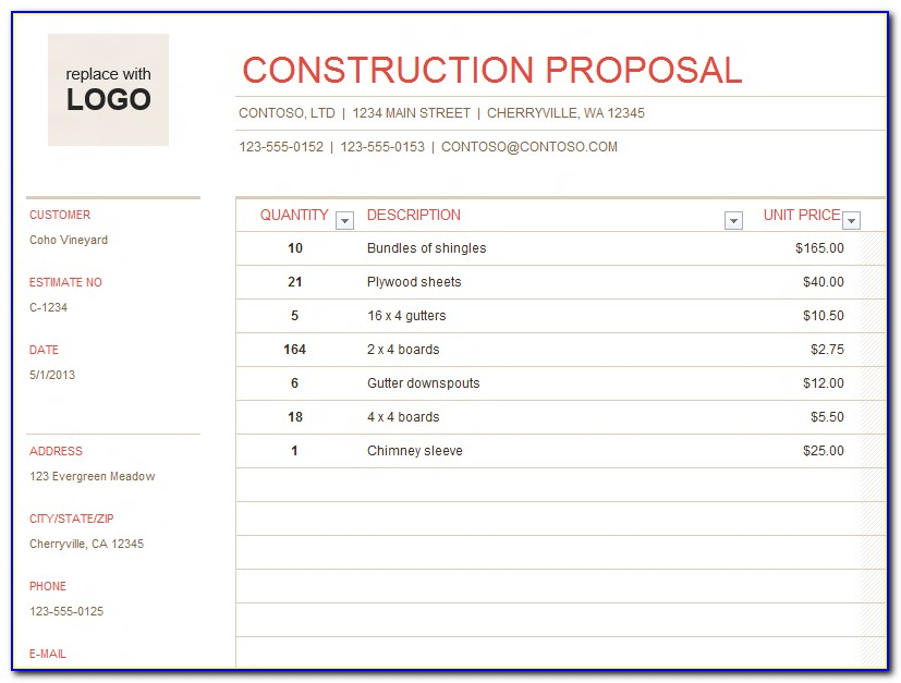 Free Construction Quote Template Excel