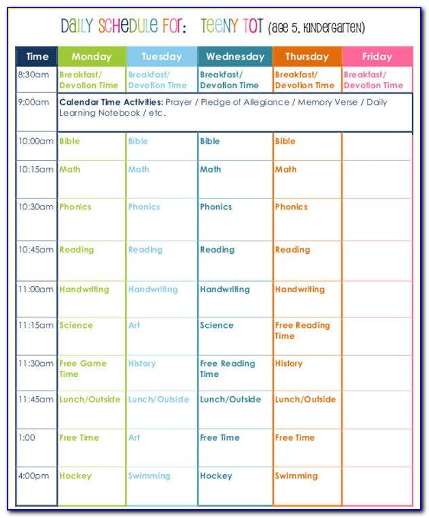 Free Editable Homeschool Schedule Template