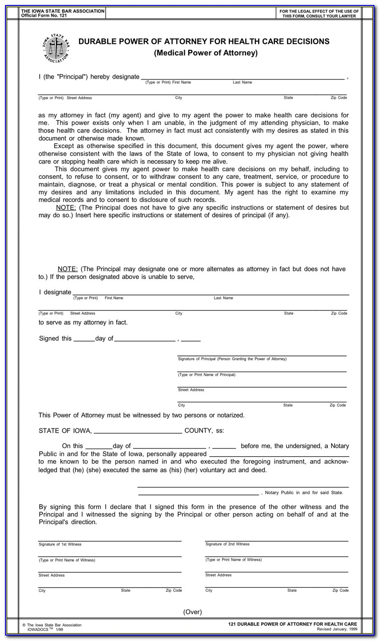 Free Health Care Power Of Attorney Form Indiana