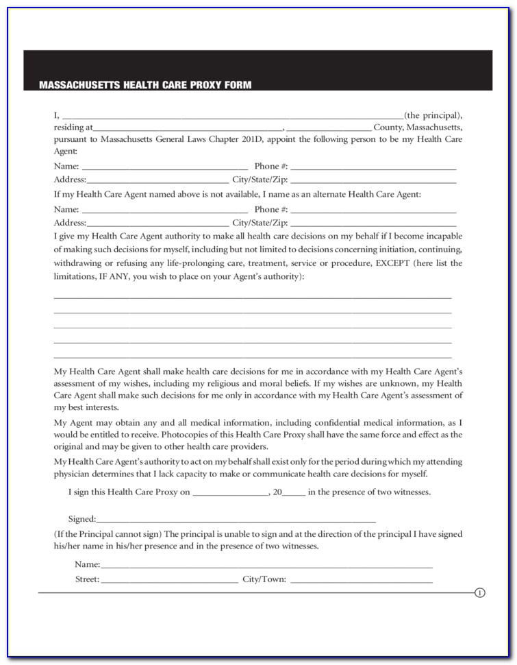 Free Health Care Proxy Form Massachusetts