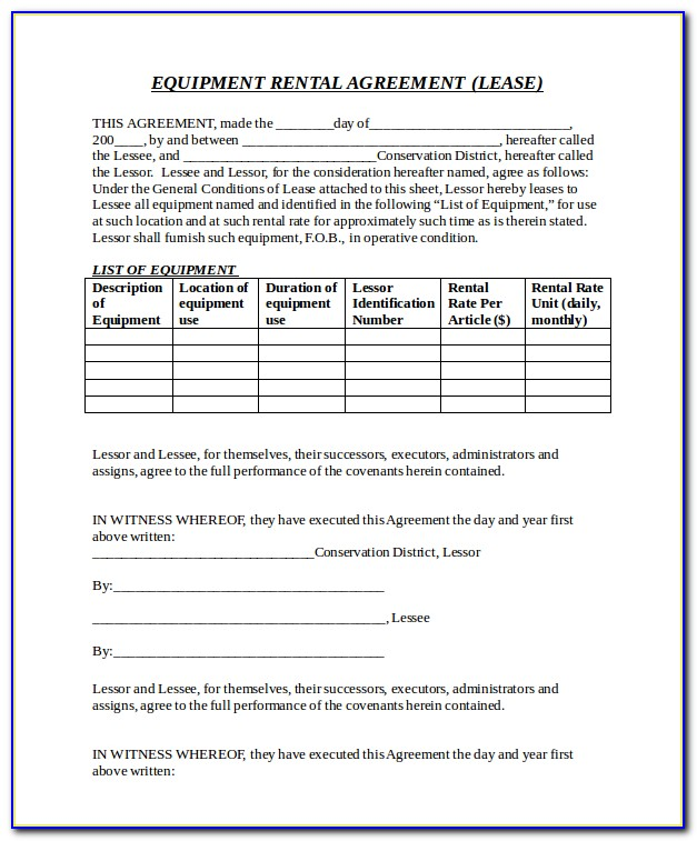 Free Hire Agreement Template Uk