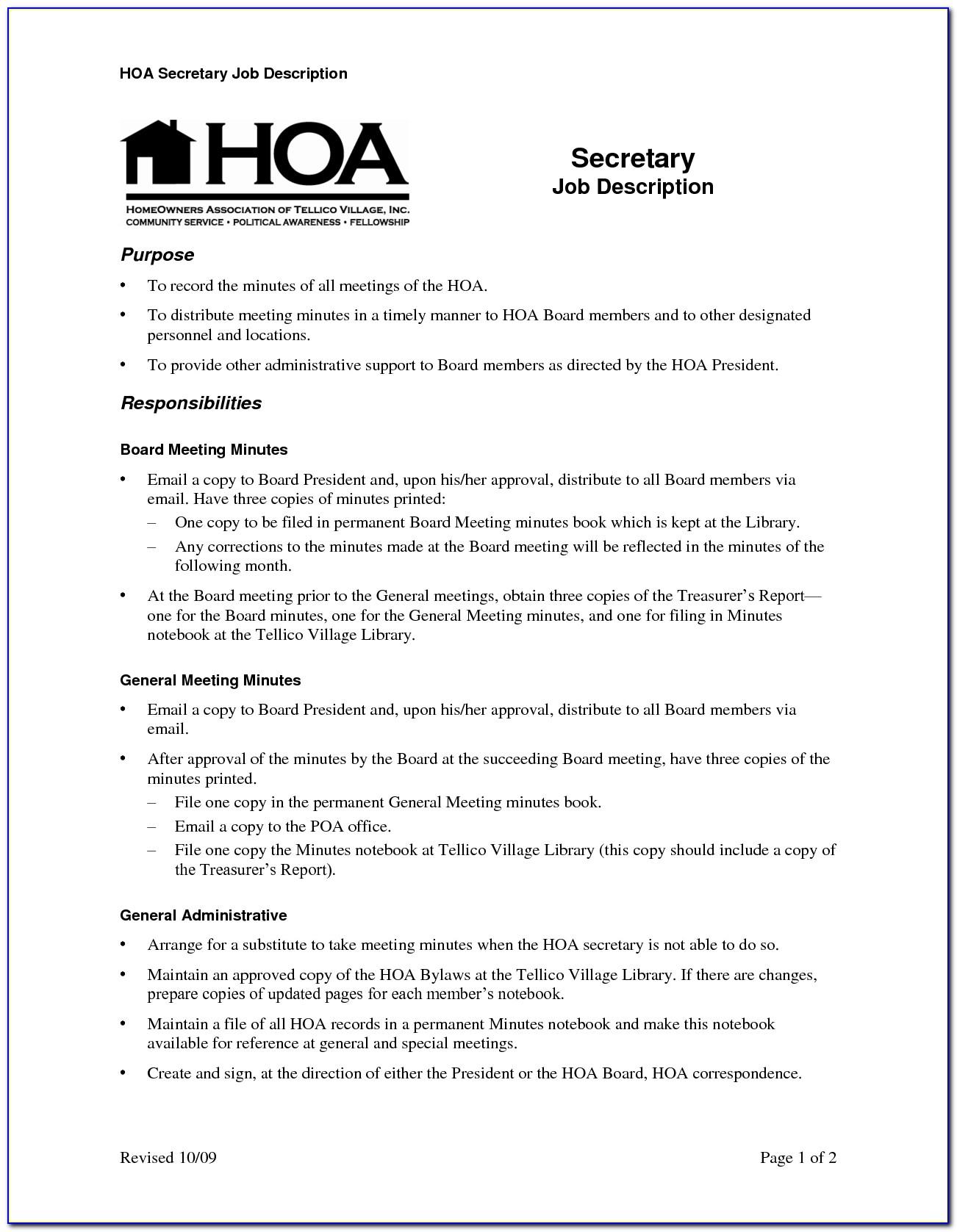 Free Hoa Meeting Minutes Template