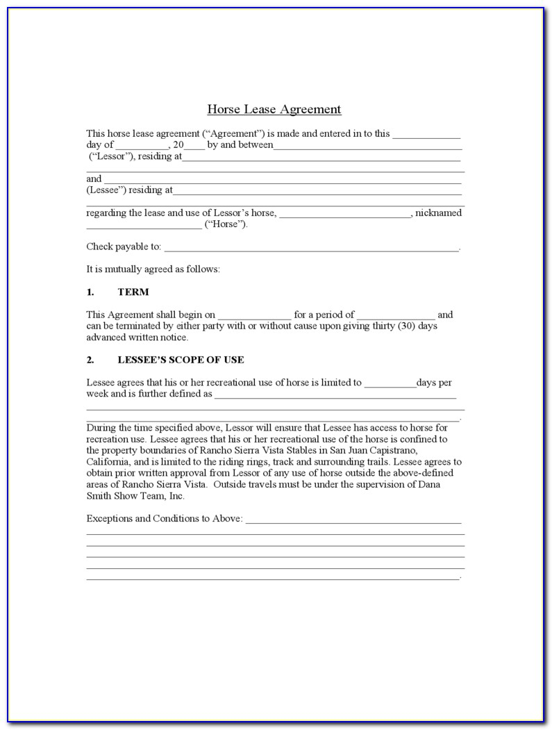 Free Horse Lease Agreement Form