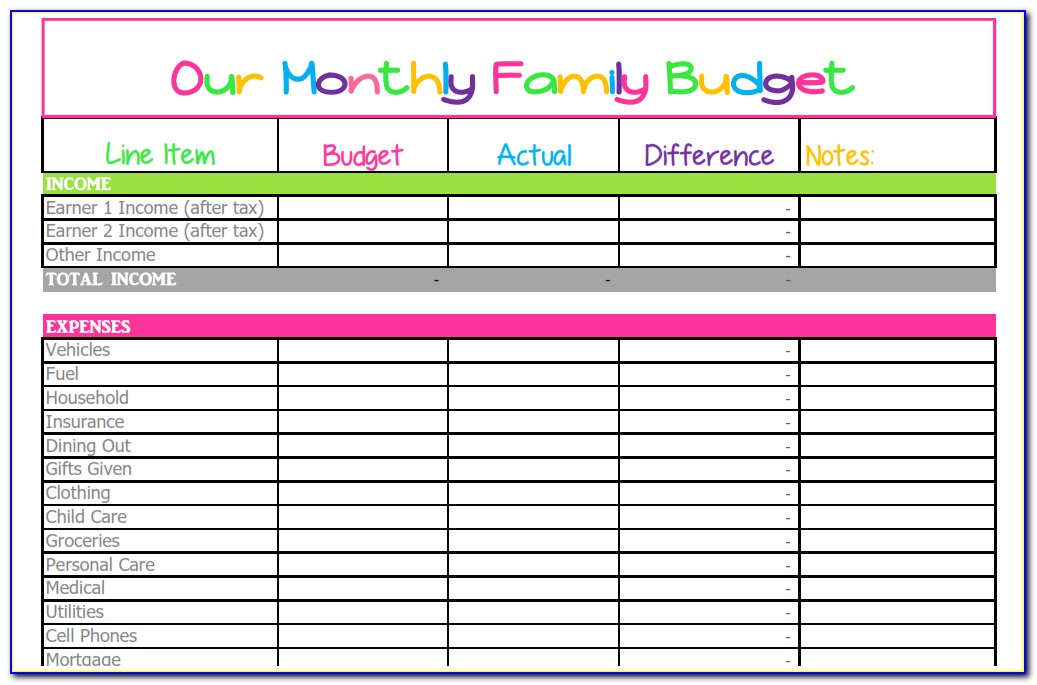 Free Household Expenses Excel Template