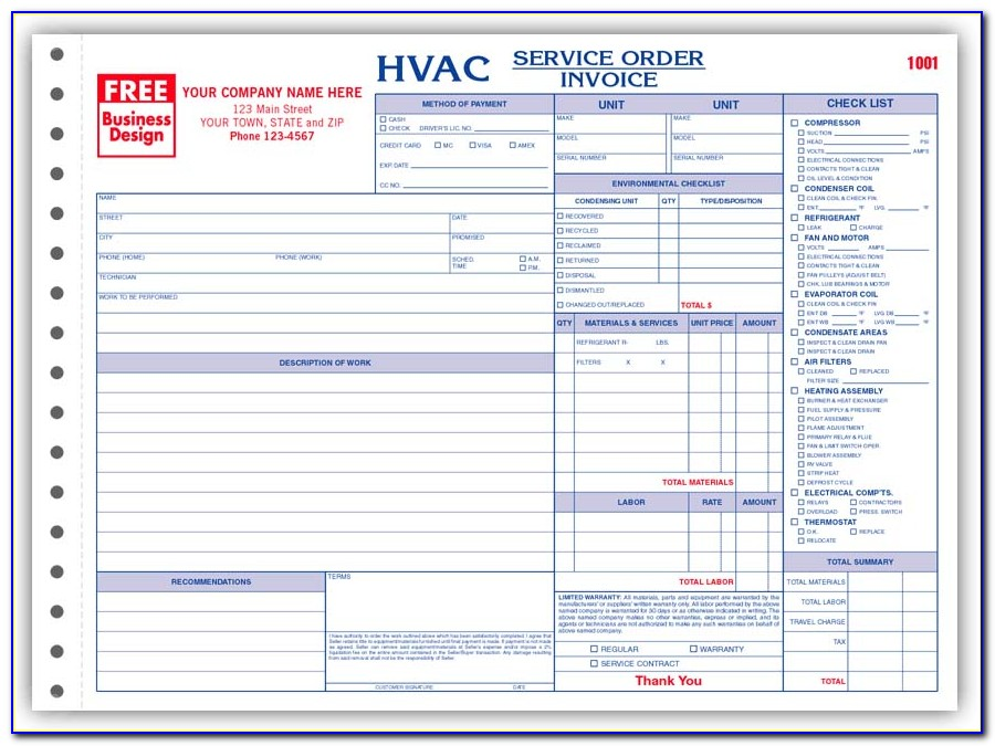 Free Hvac Service Work Order Forms