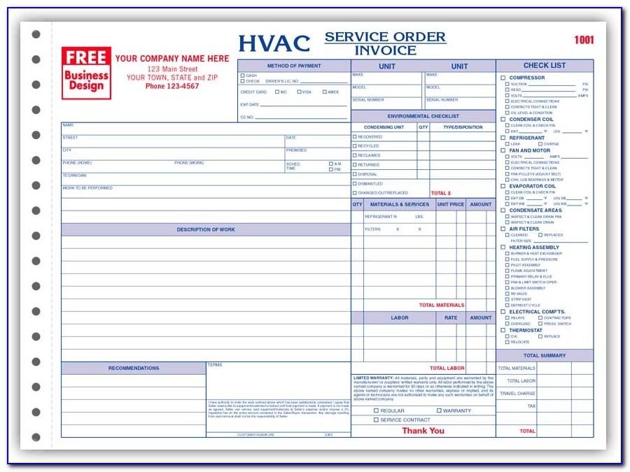 Free Hvac Service Work Order Forms