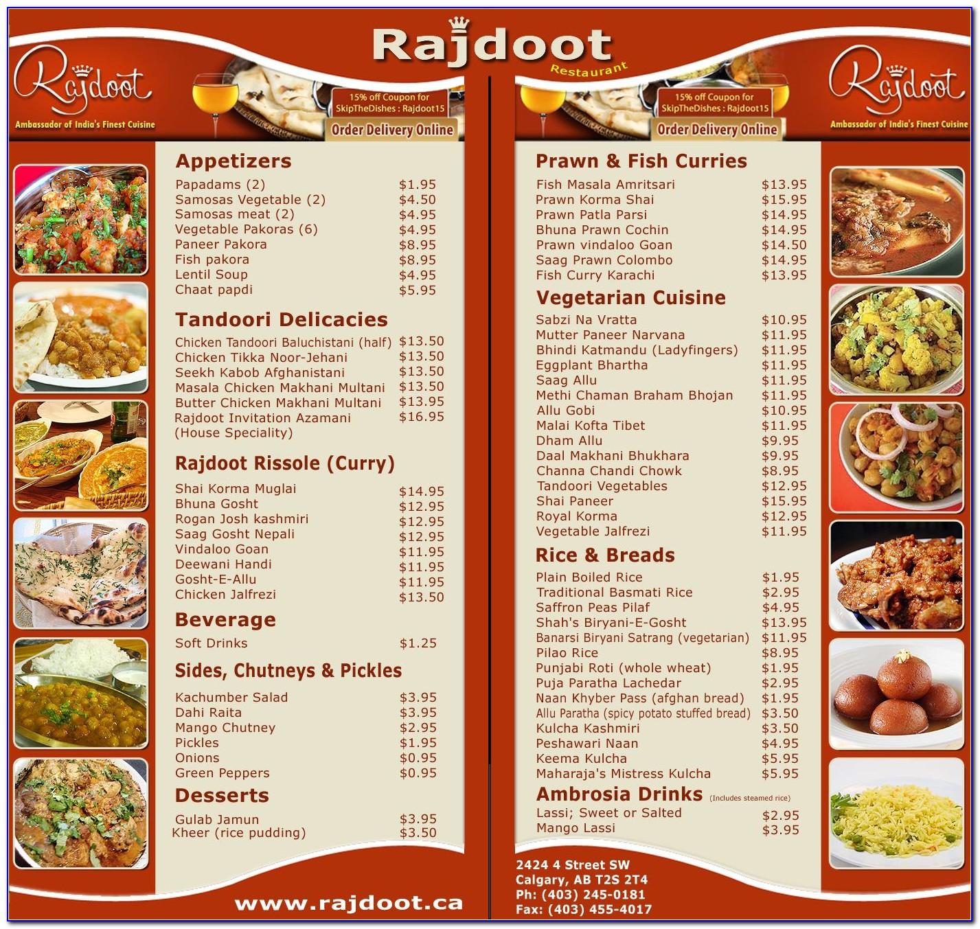 Free Indian Restaurant Menu Templates