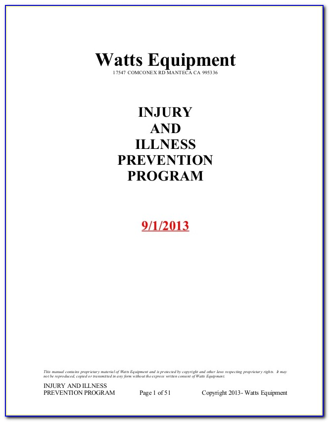 Free Injury And Illness Prevention Program Template