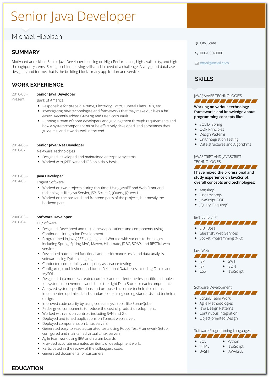 Free Java Developer Resume Template