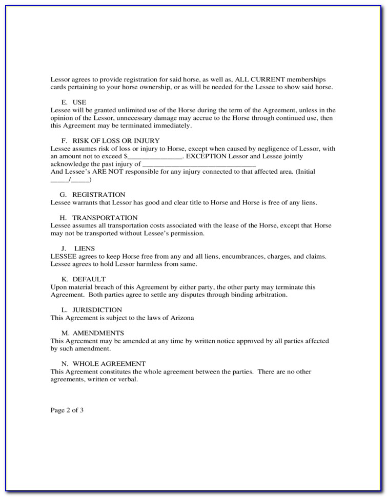 Free Lease Horse Agreement Template Australia