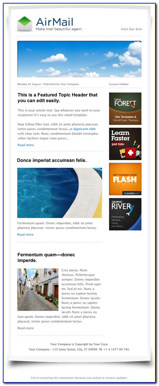 Free Newsletter Templates Html Code