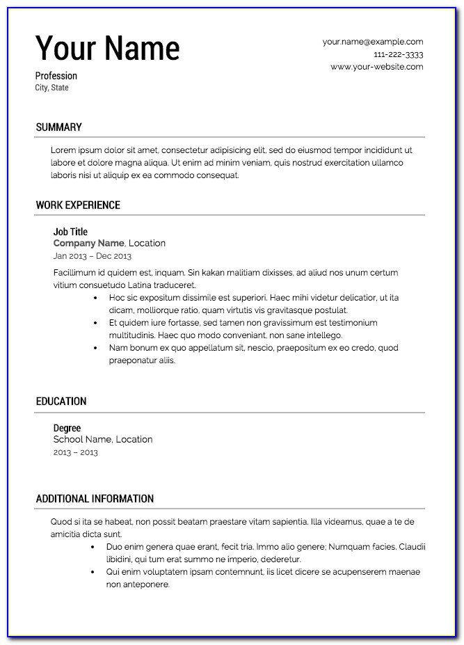 Free Simple Job Resume Templates