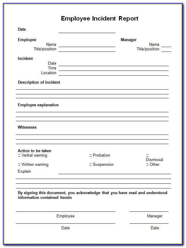General Incident Report Form Template Qld