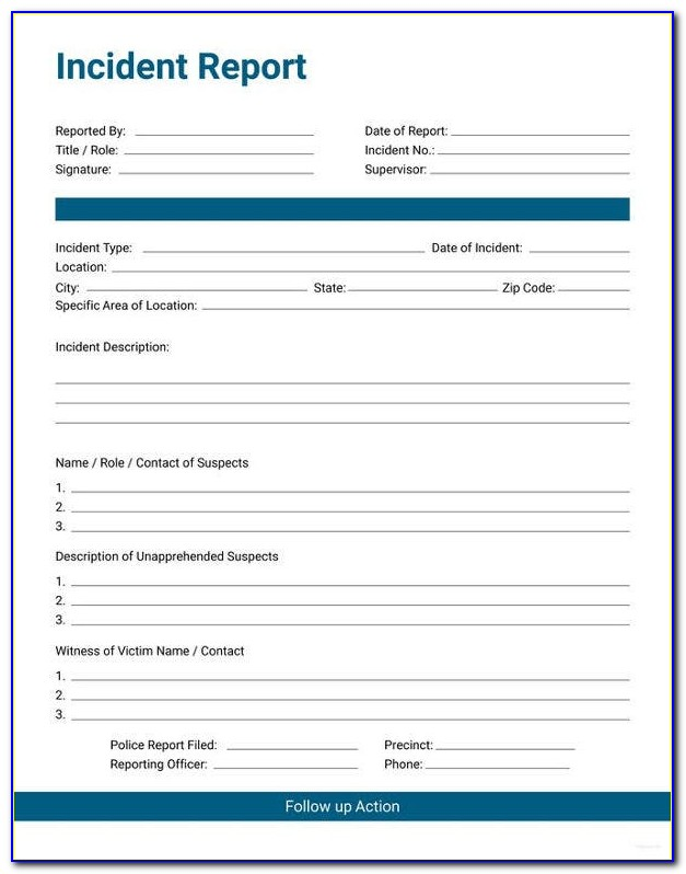 General Incident Report Form Template Word