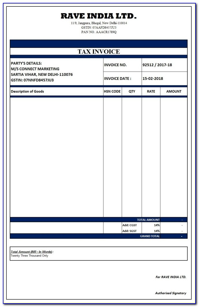 Gst Tax Invoice Format In Excel Xls
