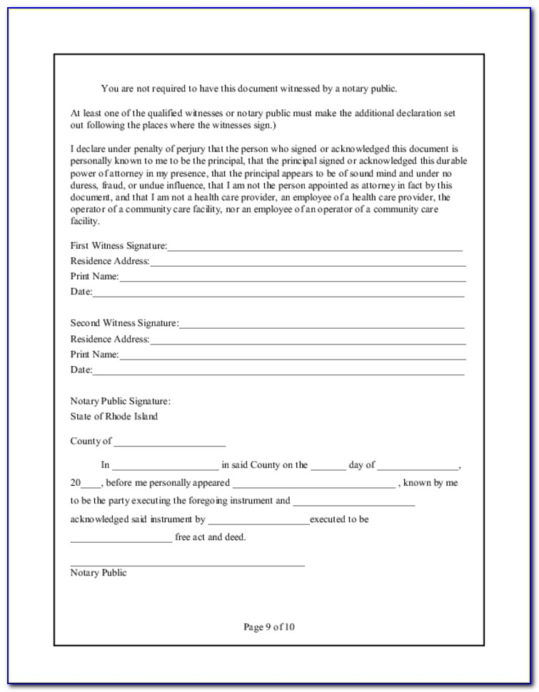 Health Care Power Of Attorney Form Free